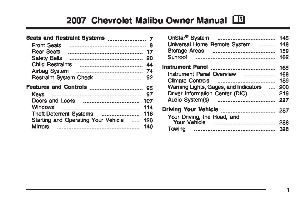 2007 Chevrolet Malibu Owners Manual Just Give Me The